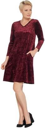 Bob Mackie Crushed Velvet Flare Dress with Pockets