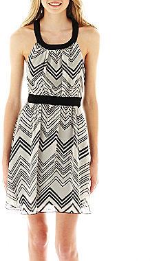 Ruby Rox Sleeveless Chevron Print Chiffon Dress
