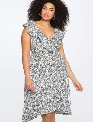 Printed Floral Wrap Dress