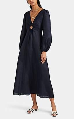 Zimmermann Women's Ring-Cutout Linen Maxi Dress - Navy