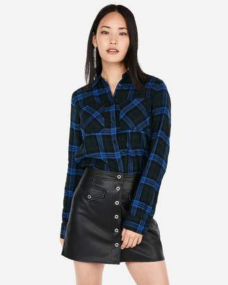 Express Blue Plaid Flannel Two-Pocket Boyfriend Shirt