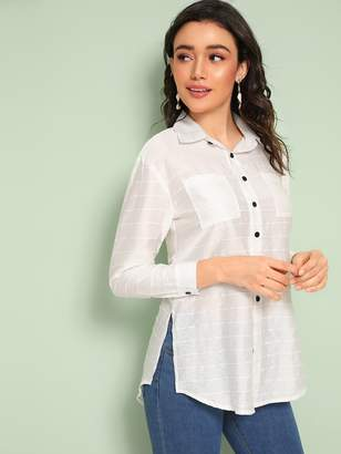 Shein Double Pocket Button Split Side Blouse