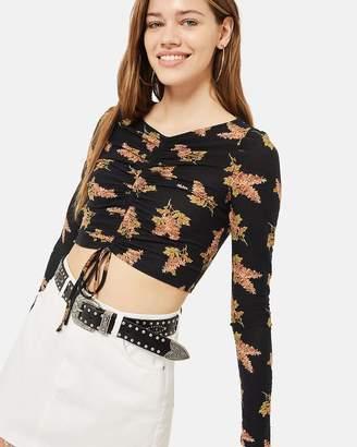 Topshop Ruched LS Floral Top