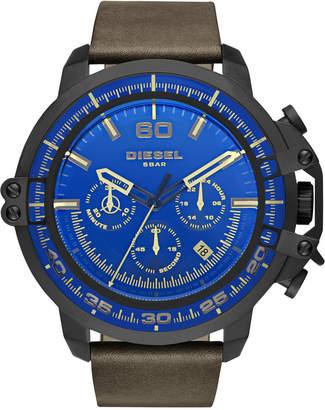 Diesel Men's Chronograph Deadeye Dark Brown Leather Strap Watch 51x56mm DZ4405