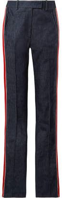 Calvin Klein Striped High-rise Slim-leg Jeans - Dark denim