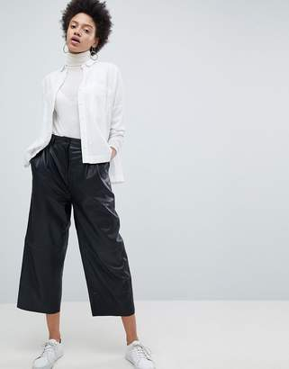 Selected Leather Wide Leg Cropped PANTS