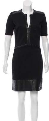 Helmut Lang Short Sleeve Leather-Accented Dress