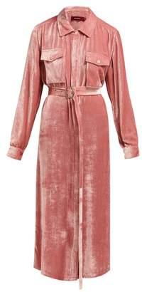 Sies Marjan - Imogen Corduroy Effect Silk Blend Shirtdress - Womens - Pink
