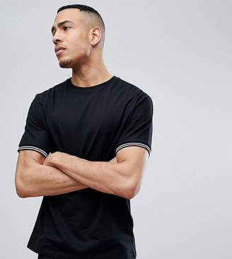 Asos DESIGN Tall relaxed t-shirt with cuff tipping in black