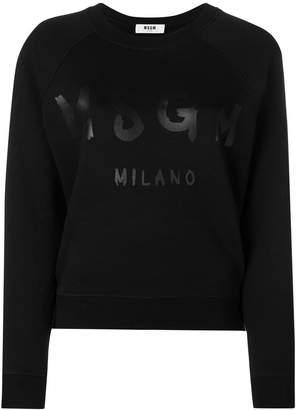 MSGM logo printed crew neck sweatshirt