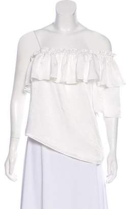 MISA Los Angeles Asymmetrical Ruffle-Trimmed Blouse w/ Tags