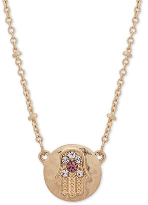 "lonna & lilly Gold-Tone Crystal Hamsa Pendant Necklace, 16"" + 3"" extender"