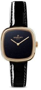 Gomelsky Eppie Sneed PVD Gold, Stainless Steel& Patent Leather-Strap Watch