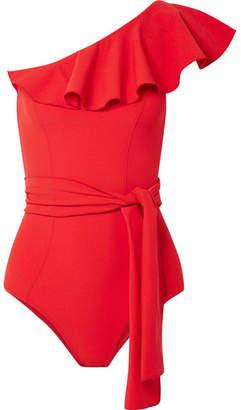 Lisa Marie Fernandez Arden Ruffled One-shoulder Stretch-crepe Swimsuit