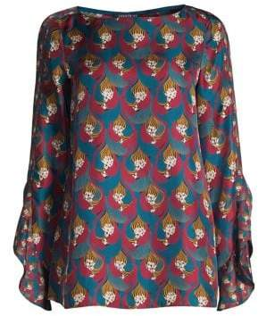 Lafayette 148 New York Emory Printed Silk Blouse