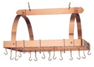 Old Dutch Satin Copper Rectangular Hanging Pot Rack with Grid & 24 Hooks