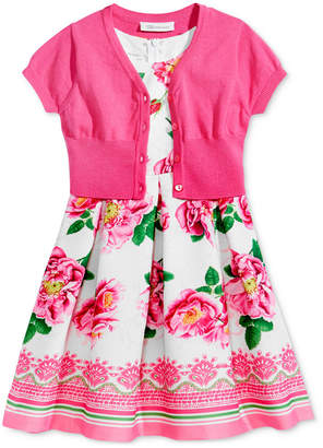 Bonnie Jean 2-Pc. Cardigan & Floral-Print Dress Set, Toddler Girls