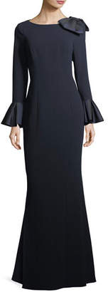 Rickie Freeman for Teri Jon Trumpet-Sleeve Crepe Column Evening Gown w/ Bow $740 thestylecure.com