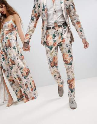 Asos Design Wedding Super Skinny Suit Pants In Champagne Floral