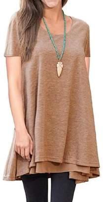cheelot Women Short Sleeve Splice Pure Color Crew Neck T-Shirts Tunic Dress L