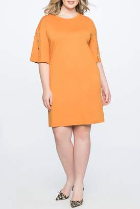 ELOQUII Snap Sleeve Easy Tee Dress (Plus Size)