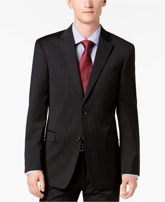 Tommy Hilfiger Men Modern-Fit THFlex Stretch Black Pinstripe Suit Jacket