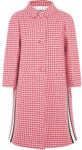prada Prada - Paneled Houndstooth Wool Coat - Pink