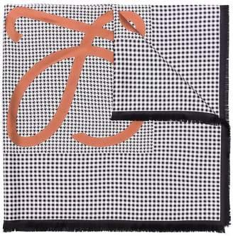 Loewe multicoloured check anagram print silk scarf