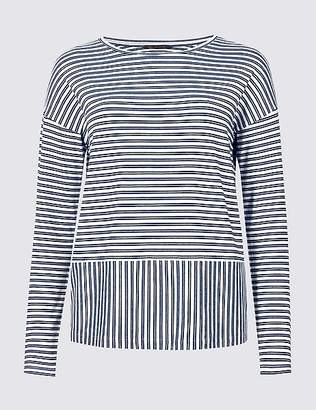 Marks and Spencer Striped Loose Fit Long Sleeve T-Shirt