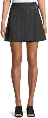 McQ Striped Wool Kilt Skirt w/ Buckle