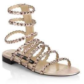 Sergio Rossi Kimberly Suede& Jewel Gladiator Sandals