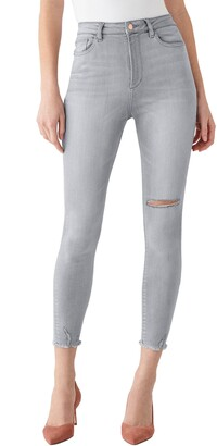 DL1961 x Marianna Hewitt Instasculpt Chrissy Ultra High Waist Fray Hem Ankle Skinny Jeans
