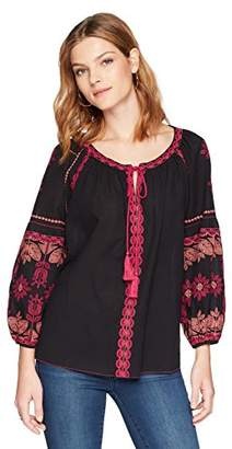 Ella Moon Women's Ava Tie-Neck Embroidered Blouse