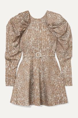 Rotate by Birger Christensen Belted Gathered Animal-print Matte-satin Mini Dress