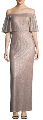 Aidan Mattox Off-the-Shoulder Short-Sleeve Metallic Evening Gown