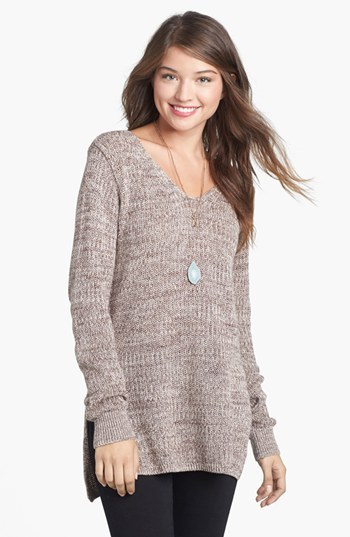 BP Side Slit Marled V-Neck Sweater (Juniors)
