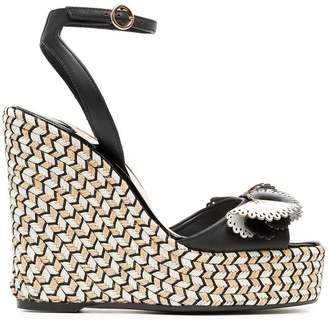 Sophia Webster black, white and beige soleil lucita 140 leather sandals