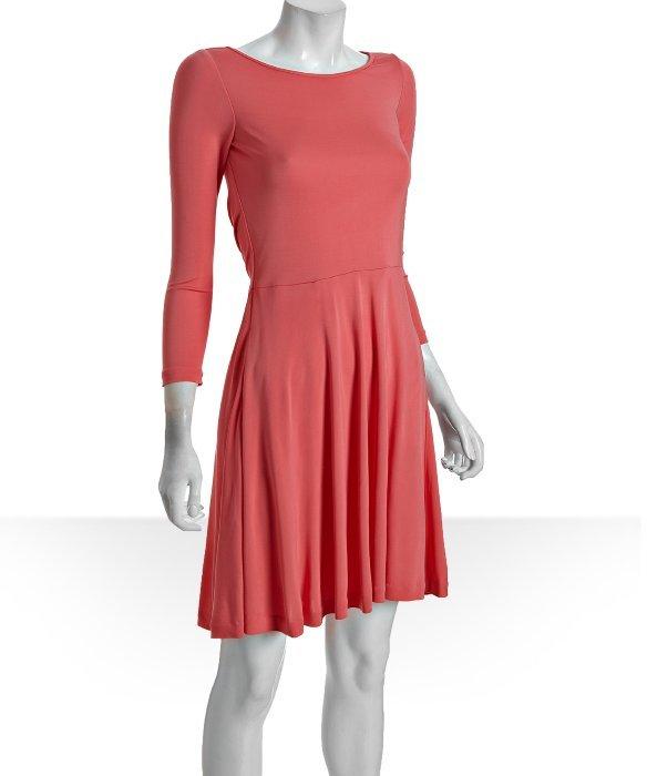 Halston Heritage coral open tie back long sleeve dress