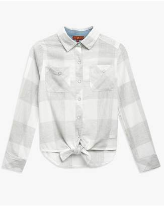 7 For All Mankind Kids Tie Front Shirt In Grey Plaid