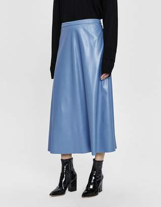 b53c6243e3 Need A-Line Faux Leather Skirt in Blue