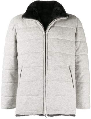 N.Peal fur lined quilted jacket
