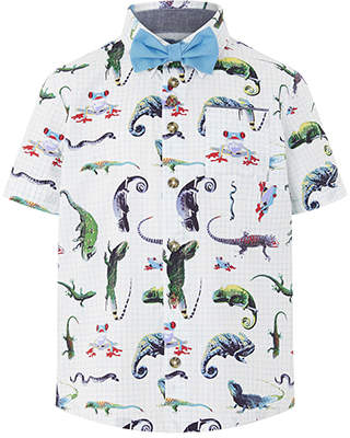 Monsoon Olly Iguana Short Sleeve Shirt & Bow Tie