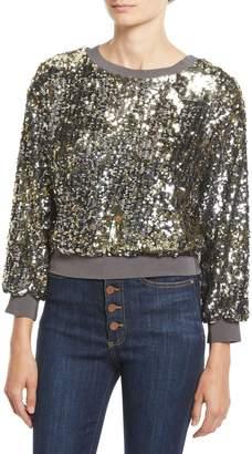 Alice + Olivia Smith Sequin Ribbed-Trim Cropped Sweatshirt