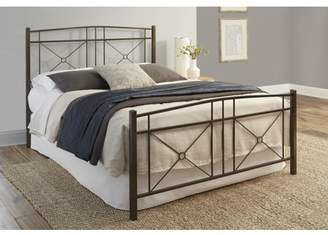 Rails Leggett & Platt Russett Complete Metal Bed and Steel Support Frame with Modest Sloping Top Rails, Liquid Bronze Finish, California King