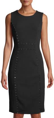 Neiman Marcus Rhinestone-Seam Sheath Dress