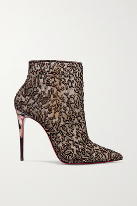 Christian Louboutin Nancy 100 Embellished Lace-trimmed Flocked Tulle Ankle Boots - Gold