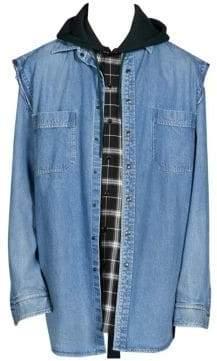Balenciaga Men's Twinset Denim Hoodie - Cornflower - Size 43 (XXL)