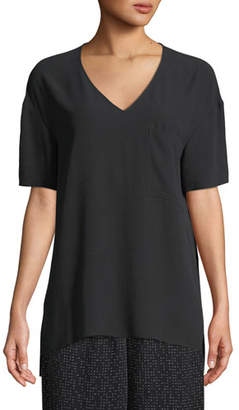 Eileen Fisher Silk Crepe V-Neck Pocket Tee