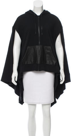 Alexander Wang T by Alexander Wang Hooded Leather-Trimmed Cape
