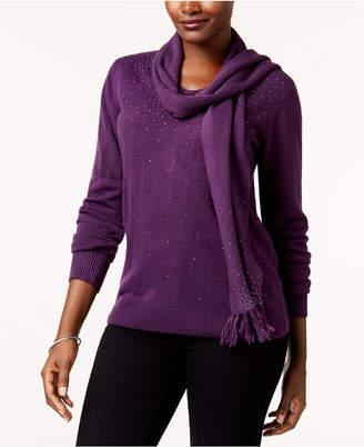 Karen Scott Luxsoft Studded Detachable-Scarf Sweater